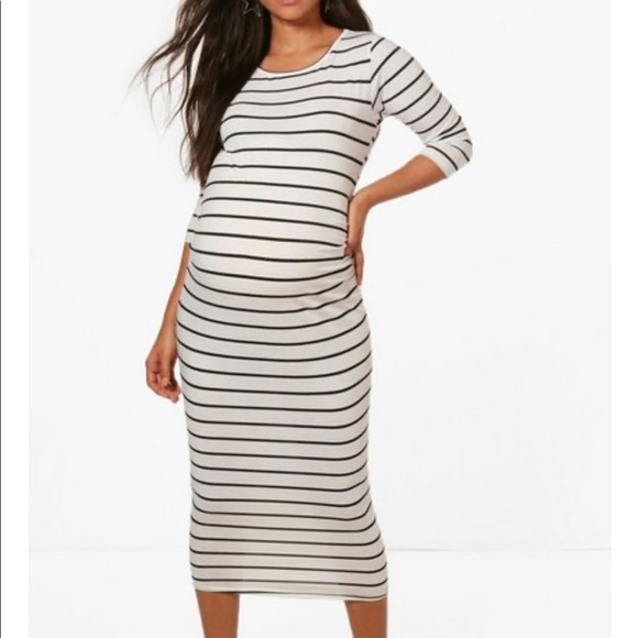 Boohoo Maternity Striped 3/4 Sleeve Dress